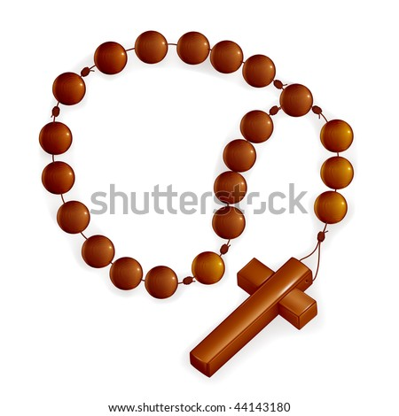 Rosary and Cross, mesh - stock vector