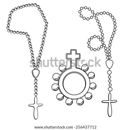 Rosary set drawing - stock vector