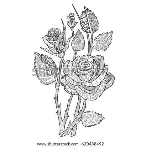rose bouquet coloring book page doodle decorative ornamental flowers for printing on t shirts - Coloring Book Printing