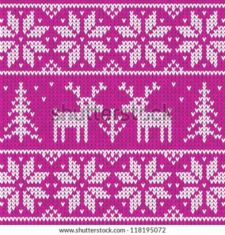 Rose Christmas ornamental embroidery with deers, vector seamless background - stock vector