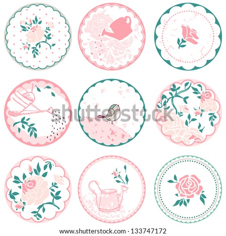 rose circle tags - stock vector
