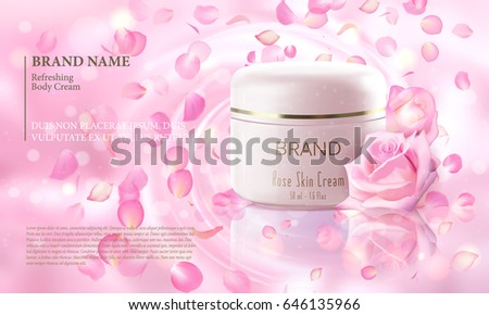 Rose flower extract cosmetic ads template, realistic 3D illustration skincare moisturizing mockup elegant glow bokeh background flying petal. Promoting vip luxury promo poster