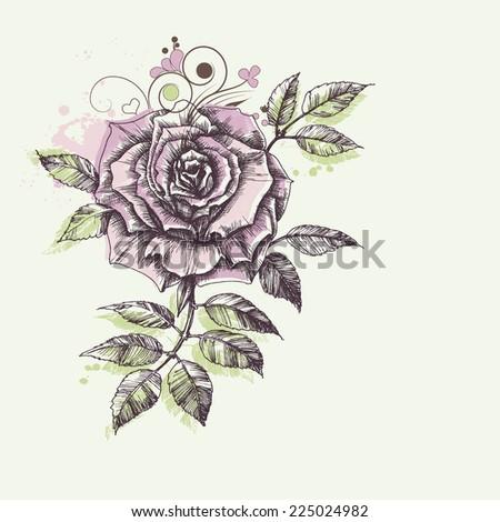 Rose flower foliage corner decoration - stock vector