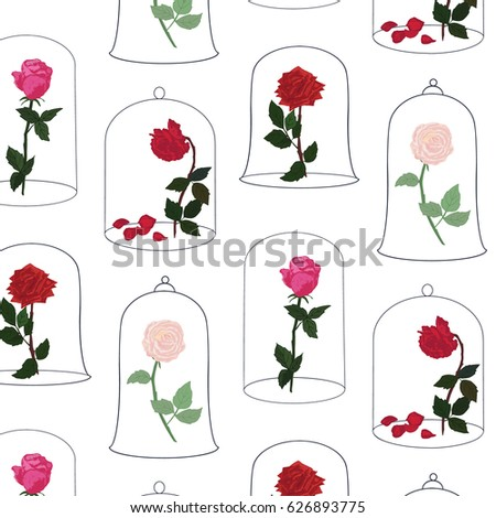 Rose flower under glass dome vector stock vector 626893775 for Rose under glass