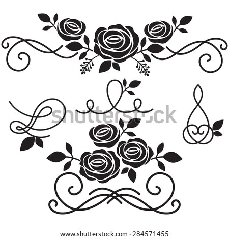 Rose Flowers With Vintage Elements And Borders Vector Illustration