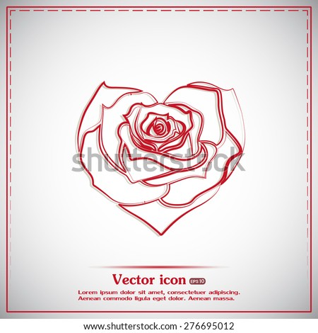 Rose in the shape of heart. Vector icon - stock vector