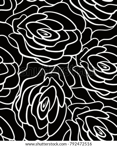 rose line art seamless pattern