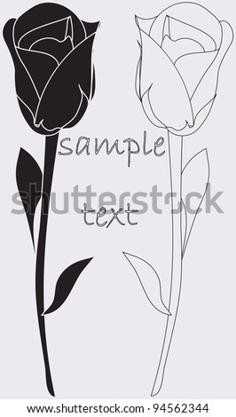 rose,monochrome - stock vector