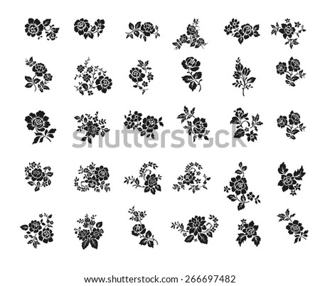 Rose motif Botanical set: collection of floral elements: branches, leaves and single rose flowers. - stock vector
