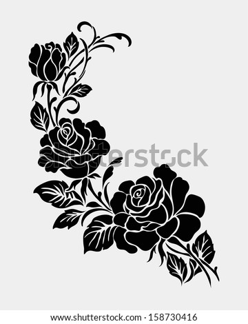 Rose motif,Flower design elements vector - stock vector