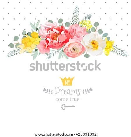 Rose, narcissus, pink flowers, ranunculus and decorative eucaliptus leaves vector design card. Polka dots backdrop. All elements are isolated and editable.  - stock vector
