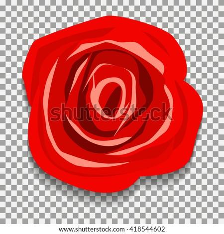 Rose on a transparent background. Rose vector illustration. Red Rose. flower rose - stock vector
