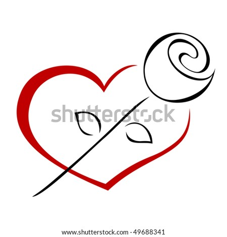 Rose on the heart - stock vector