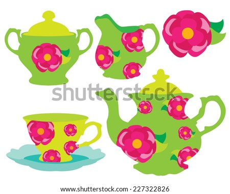 Rose Patterned Tea Set for Tea Party - stock vector