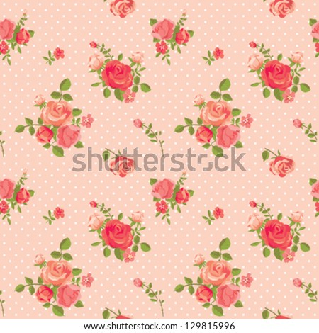 Rose romantic pink seamless pattern - stock vector
