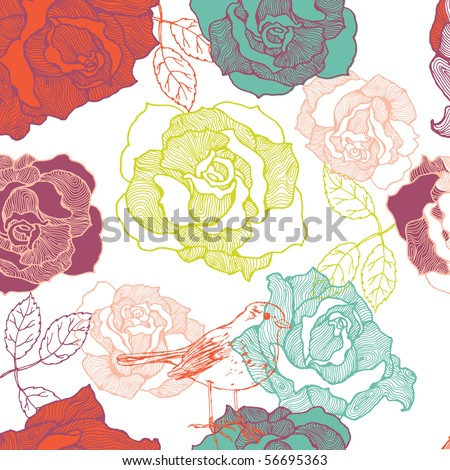 rose seamless pattern with bird - stock vector