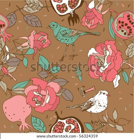 rose seamless pattern with birds and pomegranate