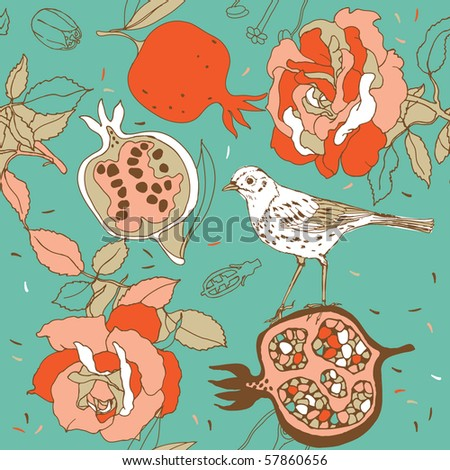 rose seamless pattern with pomegranate and bird