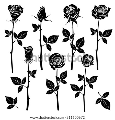 Rose silhouettes spring buds vector symbols stock vector 511600672 rose silhouettes spring buds vector symbols black rose with leaf nature flower roses voltagebd Choice Image