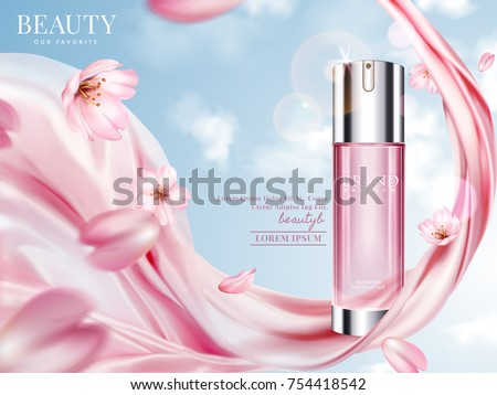 Rose toner ads, elegant cosmetic advertising with cherry blossom petals and pink chiffon in 3d illustration, blue sky background
