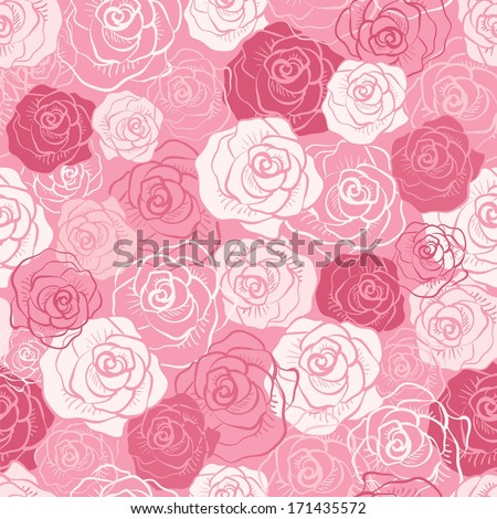 Rose vector seamless pattern. Pink, red, white shabby colors. Floral endless texture can be used for printing onto fabric and paper or scrap booking. Flower abstract background. Pretty feminine design - stock vector