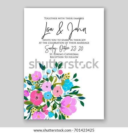 rose wedding invitation template floral ornament stock vector