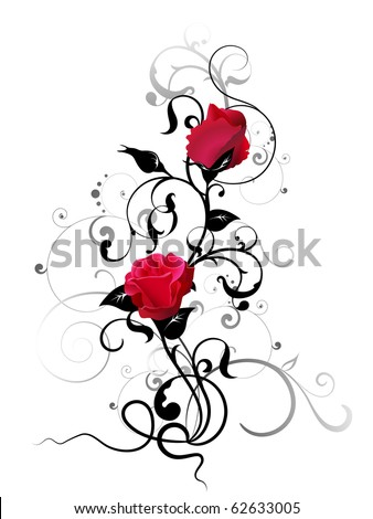 rose with floral element - stock vector