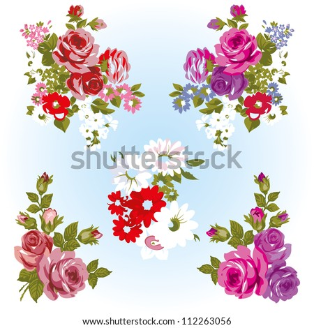 roses and flowers on a white background isolated - stock vector