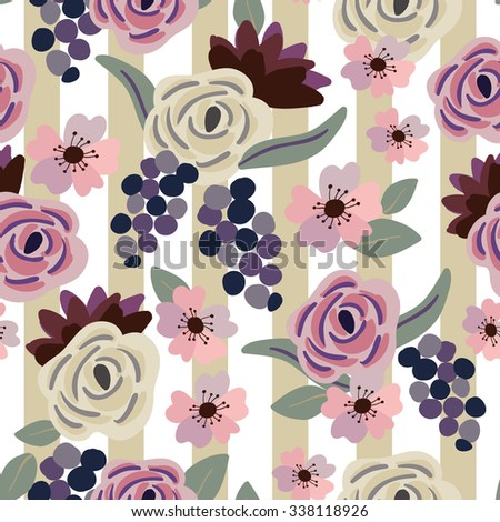 Roses and grapes with gray leaves on the striped background. Vector seamless pattern with flowers.  - stock vector