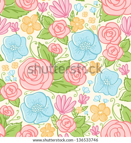 Roses and violets seamless pattern - stock vector
