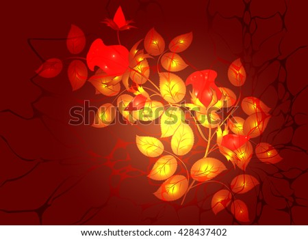 Roses and web on a red background. EPS10 vector illustration - stock vector