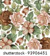 Roses, apple classic pattern. Beautiful pink and red flowers. Vintage background with blooming flowers. Drawing, engraving textile. Freehand. Wallpaper baroque. Vector Victorian style Illustration. - stock vector