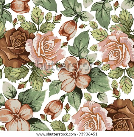 Roses, apple classic pattern. Beautiful pink and red flowers. Vintage background with blooming flowers. Drawing, engraving textile. Freehand. Wallpaper baroque. Vector Victorian style Illustration.