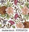 Roses carnation classic pattern. Beautiful pink and red flowers. Vintage background with blooming flowers. Drawing, engraving textile. Freehand. Wallpaper baroque. Vector Victorian style Illustration. - stock vector