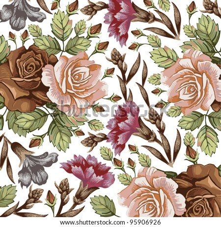 Roses carnation classic pattern. Beautiful pink and red flowers. Vintage background with blooming flowers. Drawing, engraving textile. Freehand. Wallpaper baroque. Vector Victorian style Illustration.