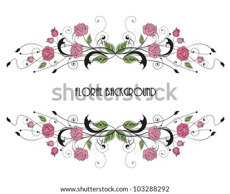 roses floral frame with place for text - stock vector