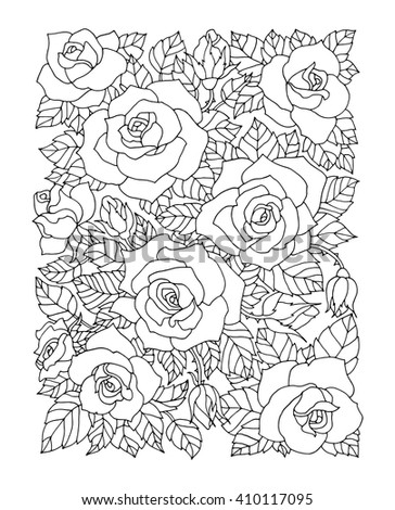Roses Flowers Floral Pattern Vector Rose Flower Artwork Coloring Book Page For Adult