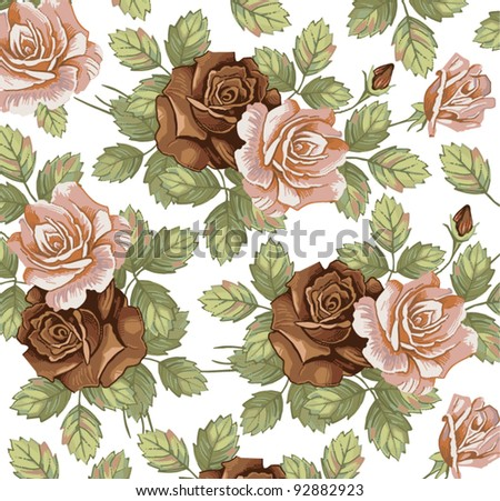 Roses. Flowers. Vector. Beautiful background with a flower ornament. - stock vector