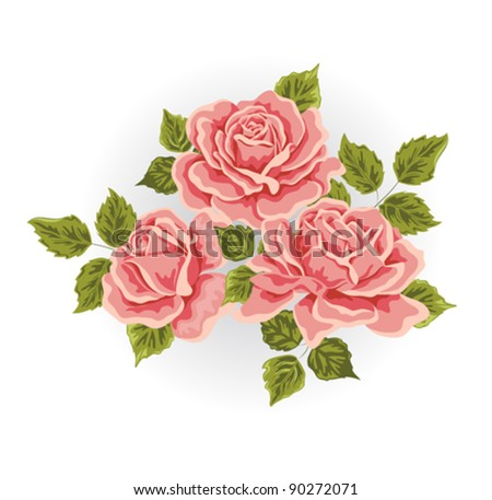 Roses. Illustration with flowers bouquet. Color design elements. - stock vector
