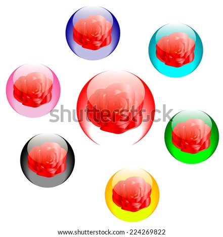 Roses in colored glass spheres vector icons set isolated over white background - stock vector