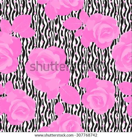 Roses on zebra print - stock vector
