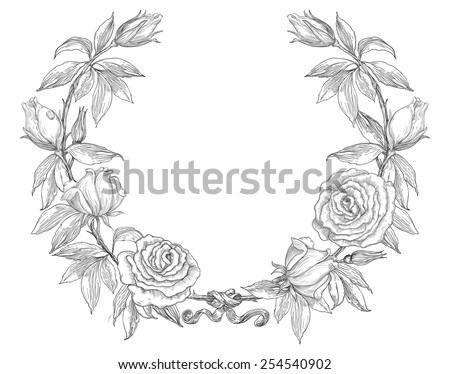 Roses. Rose flower wreath. Vector floral circle border. Hand draw at retro style  - stock vector