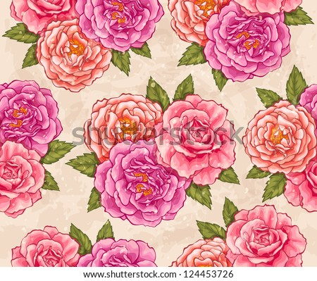 Roses seamless - stock vector