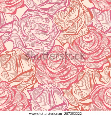 Roses seamless pattern, rose stems texture - stock vector