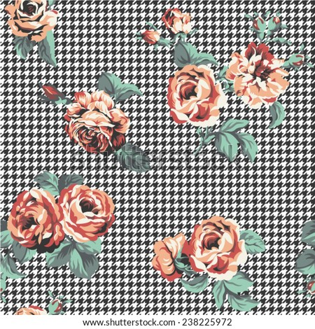 Roses texture with houndstooth background, Vector seamless pattern in custom colors - stock vector