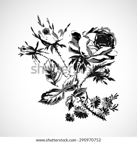 Roses vintage isolated on white background vector illustration, twigs with flowers and leaves realistic sketch