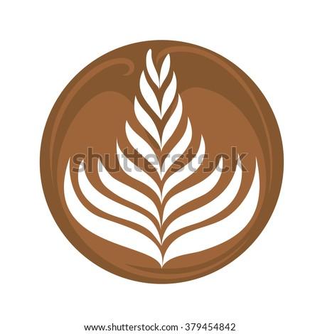 Rosetta Coffee Latte Art Logo, Icon, Symbol Vector - stock vector