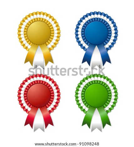 Rosettes with ribbon - stock vector