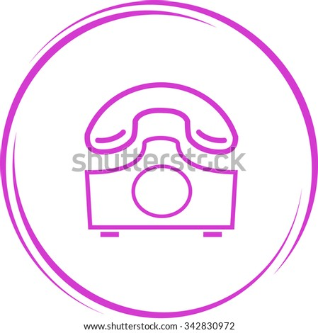 rotary phone. Internet button. Vector icon. - stock vector
