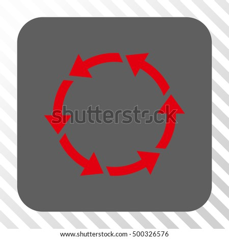 Rotate CCW rounded button. Vector pictograph style is a flat symbol on a rounded square button, red and gray colors, hatched diagonally transparent background.